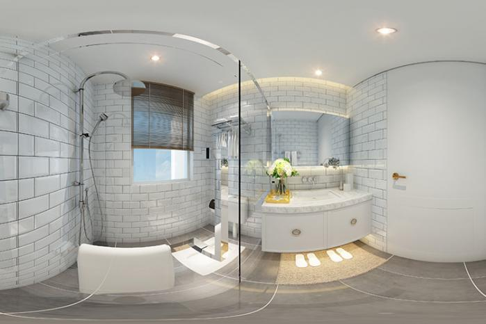 Phòng tắm kính uốn cong hiện đại 0986 964 265